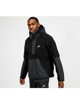 Half Zip Sherpa Hooded Top | Black / Off Noir by Nike