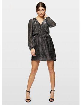 Grey Belted Lurex Mini Dress by Miss Selfridge