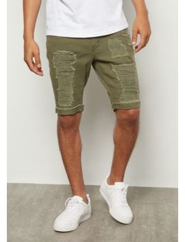 Flex Olive Ripped Rolled Jean Shorts by Rue21