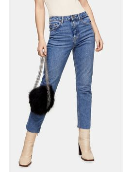 Mid Blue Ripped Hem Straight Jeans by Topshop