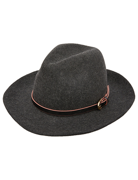 Buckle Trim Wool Fedora Hat by Accessorize