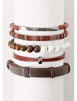 5 Pack Brown Wrapped Cloth Bracelet Set by Rue21