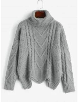 Hot Chunky Knit Turtleneck Sweater   Gray by Zaful