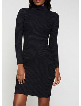 Ribbed Turtleneck Sweater Dress by Rainbow