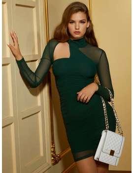 Jaden Mesh Surplice Dress by Guess