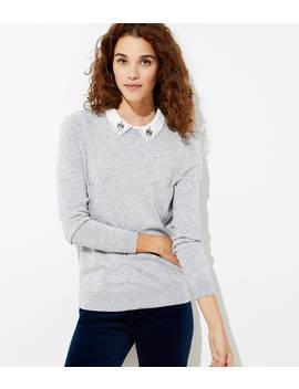 Jeweled Collar Sweater by Loft