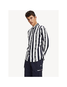 Comfort Fit Logo Stripe Shirt by Tommy Hilfiger
