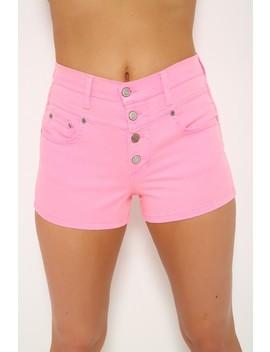 Hot Pink High Waist Shorts by Ami Clubwear