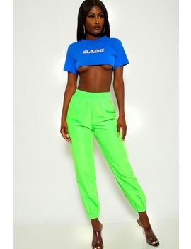 Lime High Waist Wind Breaker Pants by Ami Clubwear