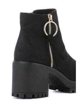 Black Suede Chunky Ankle Boots by I Saw It First
