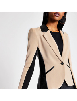 Beige Pu Blocked Blazer by River Island