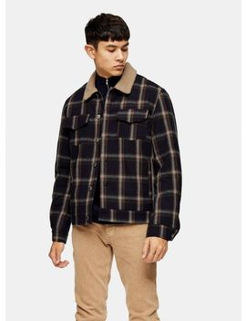 Bellfield Navy Check Borg Bomber Jacket by Topman