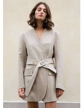 Collarless Belted Blazer Dress In Oatmeal by The Frankie Shop