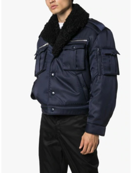 Sheepskin Collar Military Bomber Jacket by Prada