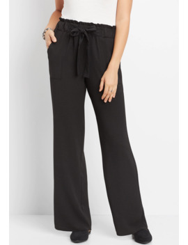 High Rise Tie Waist Wide Leg Pant by Maurices