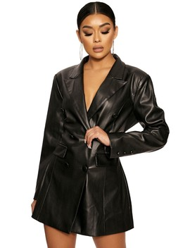 Down Faux The Leather Dress by Naked Wardrobe