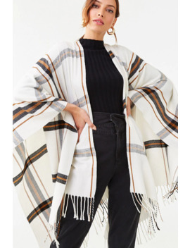 Fringe Trim Plaid Shawl by Forever 21