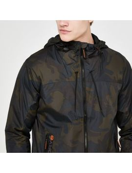 Superdry Khaki Camo Hooded Cagoule by River Island