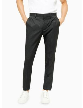 Charcoal Grey Pinstripe Skinny Fit Suit Trousers by Topman