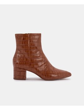 Bel Booties In Cognac Crocobel Booties In Cognac Croco by Dolce Vita
