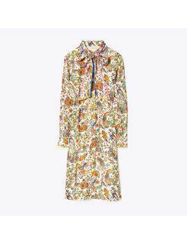 Contrast Binding Printed Shirtdress by Tory Burch