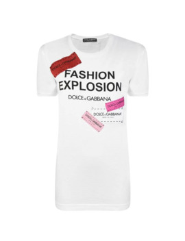 Fashion Explosion Tape Logo T Shirt by Dolce And Gabbana