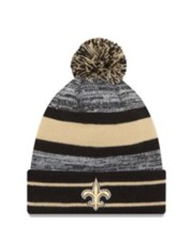 New Orleans Saints New Era Team Logo Cuffed Knit Hat With Pom   Black by New Era