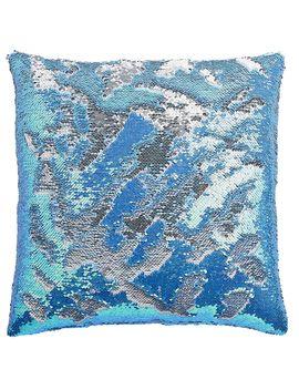 "Mermaid Sequin Throw Pillow, 18"" X 18"", Teal/Silver Mermaid Sequin Throw Pillow, 18"" X 18"", Teal/Silver by At Home"