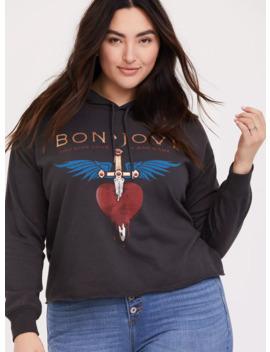 Bon Jovi Charcoal Crop Hoodie by Torrid