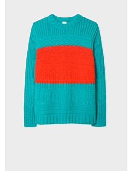 Men's Turquoise Oversized Chunky Knit Sweater With Orange Stripe Detail by Paul Smith