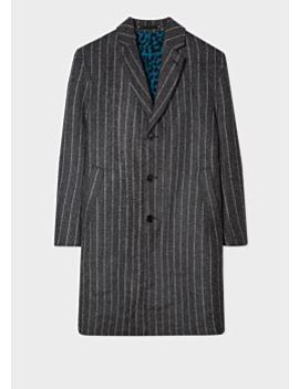 Men's Grey Pinstripe Double Face Three Button Epsom Coat by Paul Smith