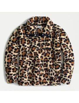 Snap Collar Sherpa Sweatshirt In Leopard by J.Crew