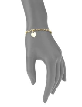 Heart 14 K Yellow Gold Charm Bracelet by Saks Fifth Avenue Made In Italy