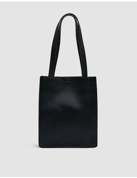 Medium Leather Retail Tote In Black by Baggu Baggu