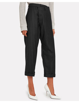 Crossover Pinstripe Wool Trousers by R13