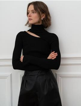 Black Cutout Ring Knit Top by Pixie Market