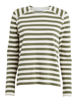 Striped Jersey Crewneck Top by Ganni