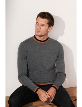 Tipped Merino Crew Jumper by Next