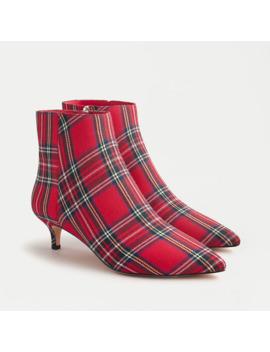 Fiona Kitten Heel Ankle Boots In Red Stewart Tartan by J.Crew