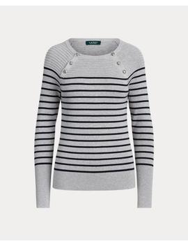 Button Trim Cotton Sweater by Ralph Lauren