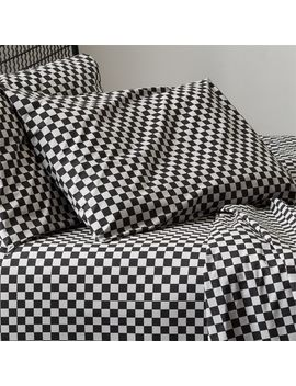 Speciale Grey And Black Checkered Sheet Set by Crate&Barrel