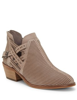 Pranika Perforated & Crisscross Strap Suede Block Heel Booties by Vince Camuto