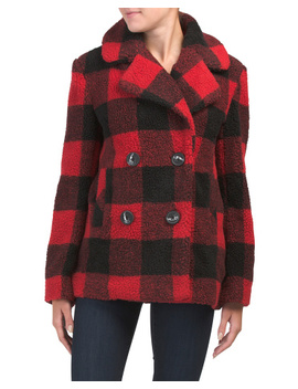 Short Buffalo Plaid Teddy Coat by Tj Maxx