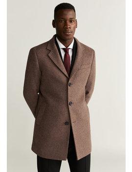 Palton Tailored Fit Din Amestec De Lana Hake by Mango