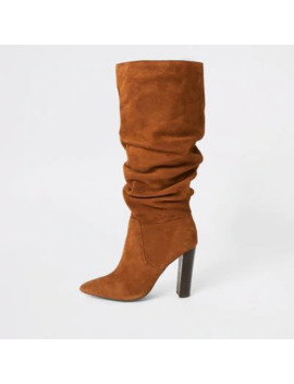 Dark Orange Suede Heeled Slouch Boots by River Island
