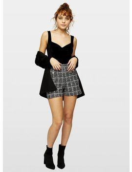 Black Sleeveless Sweetheart Velvet Bodysuit by Miss Selfridge