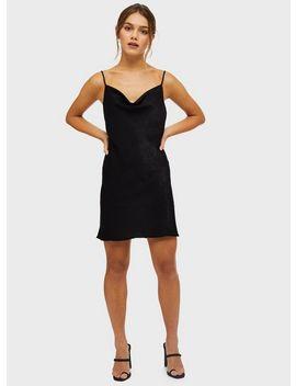 Petite Black Satin Cowl Neck Mini Dress by Miss Selfridge