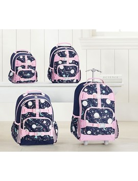 Mackenzie Pink Navy Glow In The Dark Moons Backpacks by Pottery Barn Kids