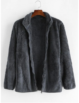 Solid Faux Fur Fuzzy Zip Up Stand Collar Jacket   Cloudy Gray Xs by Zaful