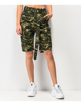 Almost Famous Dark Green Camo Belted Boyfriend Cargo Shorts by Almost Famous